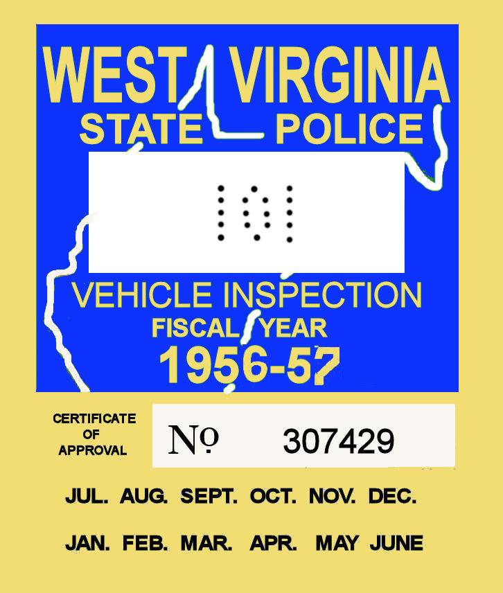 1956 West Virginia inspection sticker
